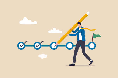 Project tracking, goal tracker, task completion or checklist to remind project progress concept, businessman project manager holding big pencil to check completed tasks in project management timeline. Illustration