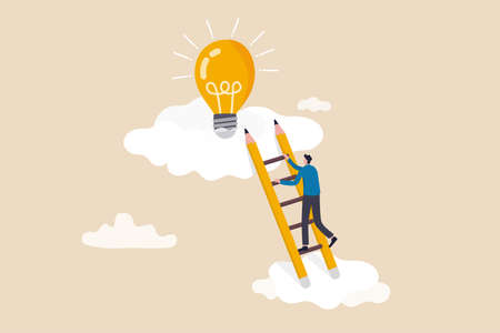 Creative idea, inspiration or imagination to create new innovative work, opportunity or wisdom concept, businessman creative guy climbing ladder built from pencil to upper cloud to find lightbulb idea Illustration