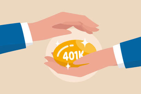 Protect your 401k in economic crisis, retirement planning and investment, benefit from pension fund concept, businessman hand tenderly holding and covering golden egg with label as 401K.