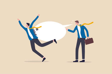 Hate speech, bullying, words or message that hurt people, aggressive management style, racism in workplace concept, bossy aggressive businessman shout with speech bubble to hurt coworker or colleague.