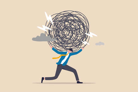 Stress burden, anxiety from work difficulty and overload, problem in economic crisis or pressure from too much responsibility concept, tried exhausted businessman carrying heavy messy line on his back Vektorové ilustrace