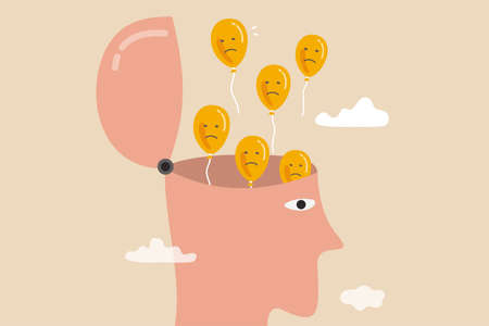 Relaxation to let anxiety and negative thought fly away, mentally relieve or mindfulness to cure depression, open head to let balloons with sad and unhappy face fly away.