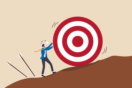 Missed target, failure or obstacle, difficulty in work that hard to achieve target or set too high or unrealistic goal concept, businessman trying hard to push dartboard or arrow target up the hill.