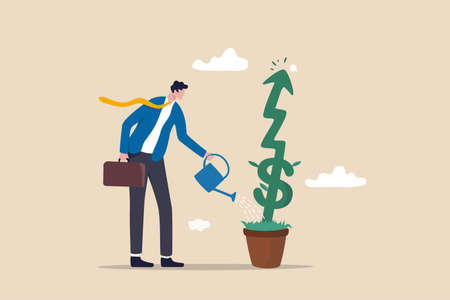 Investment growth or business grow up, make profit in stock market or earning growth concept, success businessman investor watering small plant with US dollar sign rising up graph. 向量圖像