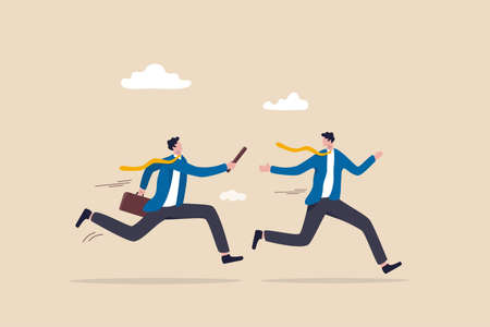 Business baton pass, relay, job handover or partnership and teamwork to help winning business concept, businessmen colleagues partner passing baton while running at full speed to achieve success.