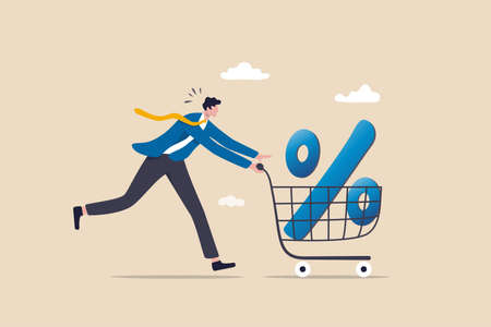 Shopping discount percentage, mortgage loan interest rate or investment earning and profit concept, businessman investor or consumer pushing shopping cart trolley with big percentage sign.