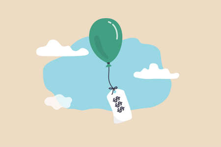 Inflation causing price rising up, overvalued stock or funds, consumer purchasing power reducing concept, air balloon tied with product price tag flying high rising up in the sky.