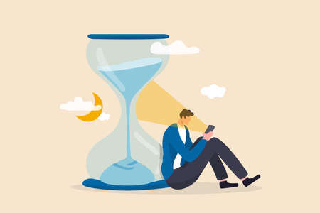 Screen time, doom scrolling or wasted time using smartphone, staying late night with mobile addiction concept, exhausted man sitting with sandglass using smartphone with bright light on his face.