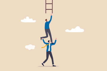 Support or mentor to achieve business success, teamwork collaboration or partnership help to reach target concept, businessman coworker support his colleague reaching to climb ladder of success.