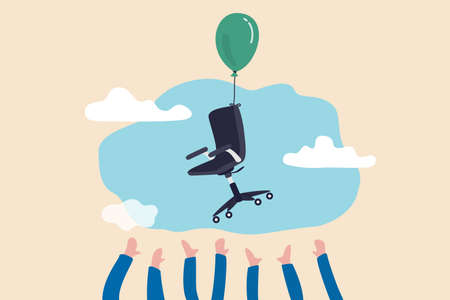 Candidate grabbing vacancy chair, human resources, HR recruitment concept, candidates hand trying to grab office chair flying in the air with balloon.