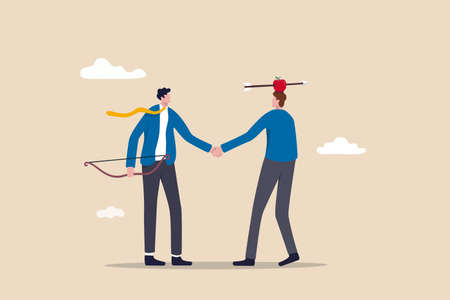 Trusted partner, believe and confidence in strong business relation, collaboration or trust alliance concept, businessmen shaking hands agreement after finished danger risky apple shot archery show.
