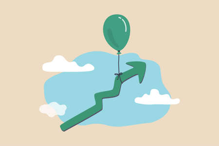 Market rising up, economic growth, high performance profit increase or prosperity concept, balloon tied with rising up green graph flying high in the sky.