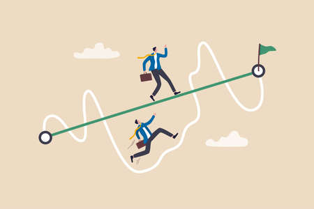 Easy or shortcut way to win business success or hard path and obstacle concept, businessmen competing with smart guy running on straight easy way and other on hard messy path.