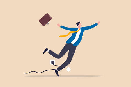 Failure or mistake. accident or surprise problem that impact business concept. clumsy businessman stumble with power cable electric plug falling on the floor.
