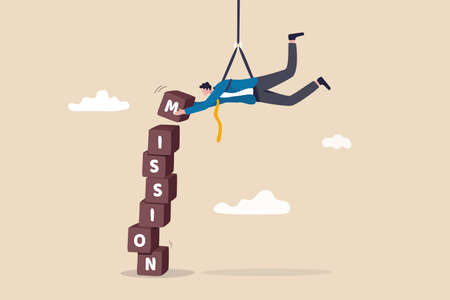 Business mission. leadership skill to achieve target and overcome work obstacle or motivation to do impossible thing concept. skillful businessman hanging from above manage to complete mission blocks.