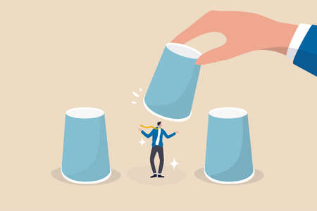 HR, Human resources choosing candidate, career choice or hiring manager and employment concept, employer hand lifting up the chosen cup to choose candidate businessman from guess game cups.