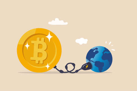 Cryptocurrency sustainability problem, bitcoin and crypto currency mining energy consumption not environment friendly concept, Big bitcoin with electric plug sucking energy from planet earth.