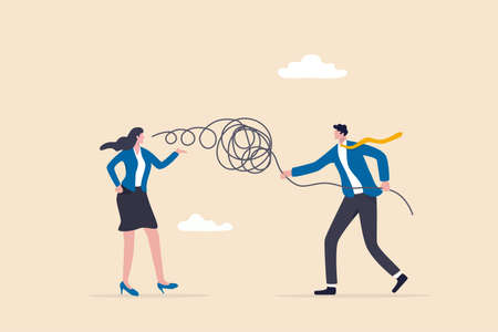 Business consultant, problem solving or work discussion, good listener, mentor and support manager concept, businessman manager listen to customer feedback or colleague talking and help solve problem. 일러스트