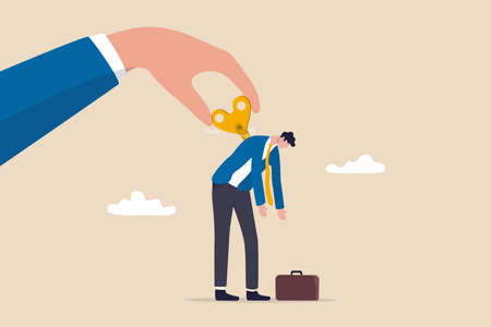 Exhausted employee recharged, power up or wind up to stimulate or motivate fatigue person concept, manager big hand turn wind up key or winder clockwork to motivate businessman office worker.