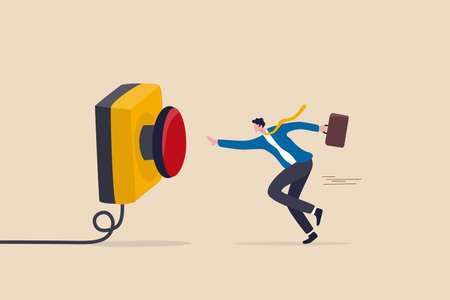 Push button call for emergency help, control or launch rocket, start new business or launch start up company concept, cautious businessman running in hurry to push red emergency button.