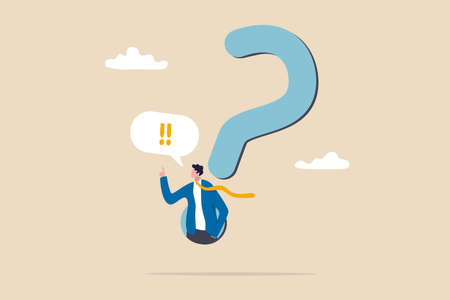 Answer business question, determination or sill and decision to solve problem, FAQ frequently asked questions concept, determination businessman comes out from question mark sign to answer question. 일러스트