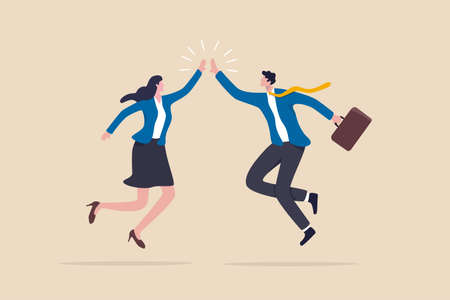 Team success winners, hi five or congratulation on business goal achievement, collaboration or encouragement concept, happy businessman and woman teamwork coworkers jumping and hi five clapping hands. 일러스트
