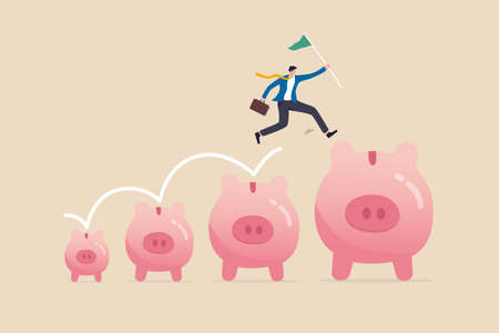 Investment and savings growth, salary or profit increase, making more money and collect more wealth concept, business man jumping from small piggy bank to bigger profit to achieve financial goal.