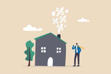 Real estate and housing mortgage rates, interest rate for house loan or renting, property tax or banking cost concept, businessman house owner looking at rising percentage smoke from house fireplace. 일러스트