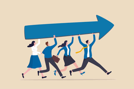 Team success and improvement, sharing same business goal and direction, support and partnership for career growth concept, businessman and woman teamwork help carry big growth rising up arrow graph. 일러스트