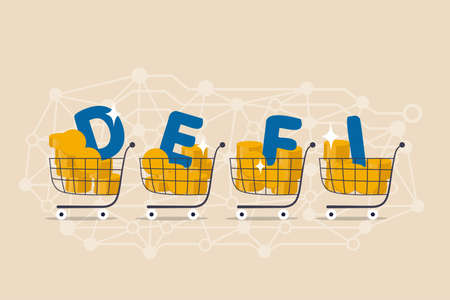 Decentralized finance, new technology using blockchain for banking, digital money or financial platform and application concept, shopping cart with alphabets DEFI on decentralized link dots pattern. 일러스트