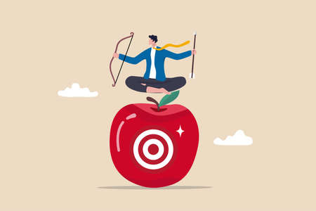 Concentration and focus on business goal or target, business plan for winning strategy concept, businessman archery holding arrow and bow meditate and focus on bullseye target at the center of apple.