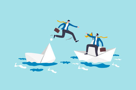 Trusted business partner to help and support in economic crisis or team and partnership to offer solution concept, brave businessman risk their life to help his partner from sinking boat in the ocean.