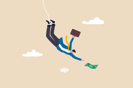Investment risk, business challenge, adversity or take risk to earn more income, greed and fear in stock market downfall concept, skillful confident businessman bungee jumping to grab money banknote. Vektoros illusztráció