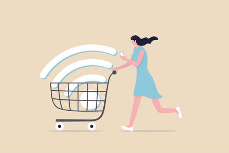 Mobile online shopping, app or website e-commerce website easy to buy and purchase products concept, happy young woman using mobile e-commerce app with big wifi sign in shopping cart trolley. 일러스트