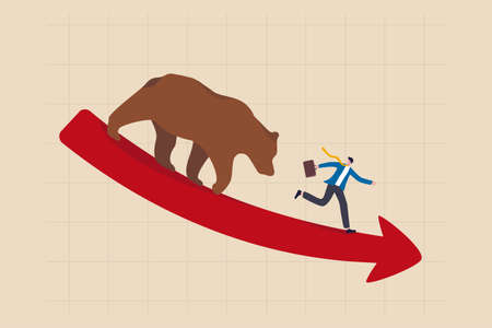 Bear market, stock decline by economic crisis, recession or bubble burst, crypto currency price going down concept, businessman investor sell all stocks and run away from bear on red decline graph.