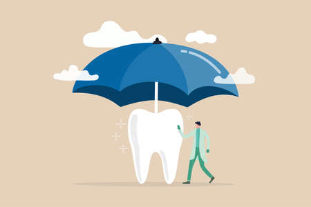 Dental insurance covering healthcare and medical cost, tooth protection or dental care concept, dentist standing with strong clean tooth with big umbrella cover or protect from storm above.