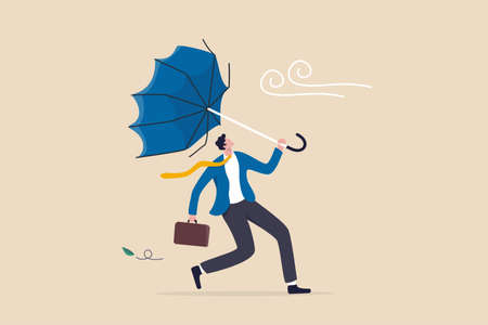 Business difficulty or obstacle in economic crisis, mistake or accident causing problem or failure, depressed and anxiety concept, frustrated businessman holding broken umbrella in strong wind storm. 일러스트