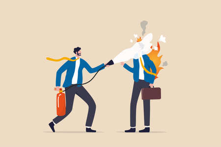 Mentorship or support to help employee burnout, fatigue or overworked, people management or brain cool down to reduce anxiety concept, businessman put fire extinguisher on his burnout colleague. 일러스트