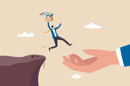 Change job or leaving company for new career opportunity, ambition and decision to change employer concept, brave confident businessman carrying stuffs escape jumping from cliff to helping giant hand. 일러스트