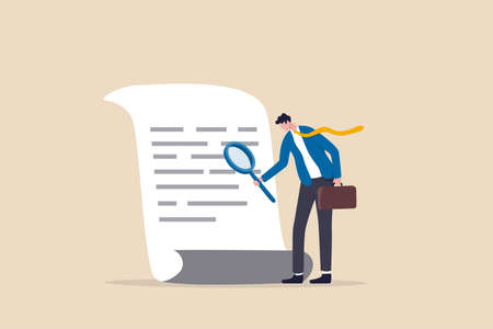 Document checking, agreement or contract validation, financial or budget analysis, search for document files concept, businessman manager holding big magnifying glass checking document paper. Ilustración de vector