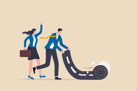 Career path road to success, begin or start new job or career development, leadership to plan for business direction concept, smart businessman rolling career path road carpet for his team colleague. 일러스트