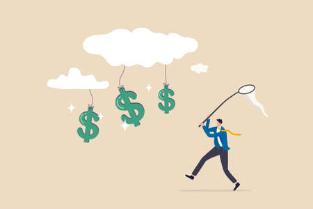 Cloud investment, new technology using cloud computing stock rising up and gain more profit in new normal economic concept, businessman investor catching dollar money sign falling from cloud. 일러스트