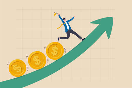 Investment profit and earning, stock market growth or fund flow depend on interest rate and inflation concept, businessman investor, fund manager holding flag lead money coins running up rising graph.