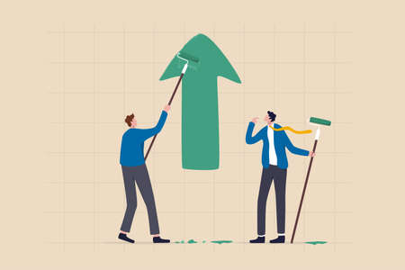 Business profit growth, improvement or career development, investment earning rising up or partnership to help grow business concept, businessman partner help painting growth green arrow graph. 일러스트