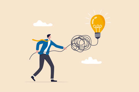 Simplify complex business idea, untangle or solve business problem, solution for messy chaos situation concept, smart businessman untangle messy line of business idea lightbulb or simplify problem. 일러스트