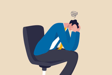 Regret on business mistake, frustration or depressed, stupidity or foolish losing all money, stressed and anxiety on failure concept, frustrated businessman holding his head sitting alone on the chair 일러스트