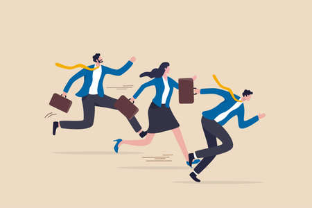 Business rival or competition, challenge to success in work and career, motivation or effort to win the business concept, business people competitor running fast with full effort to finish line. 일러스트