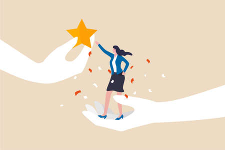 Employee success recognition, encourage and motivate best performance, cheering or honor on success or achievement concept, winning confidence businesswoman standing on big hand getting star reward. 일러스트
