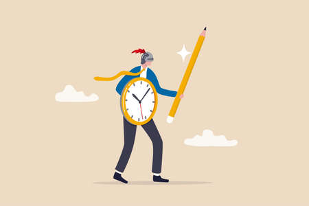 Fight procrastination for productivity master or efficiency professional, time management or project deadline challenge concept, businessman wearing knight helm using clock shield and pencil sword.