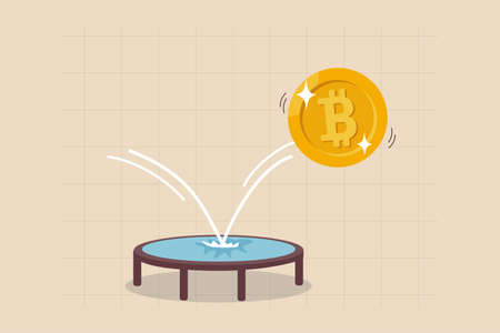 Bitcoin price rebound, crypto currency bounce back to rising up after falling down concept, golden bitcoin bounce back on the trampoline rising up on price graph.